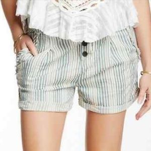 Free People Stripe Shorts Button Fly Blue White 0